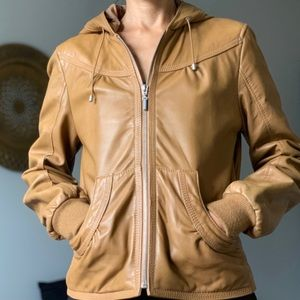 Kenneth Cole Reaction genuine leather jacket hoodi